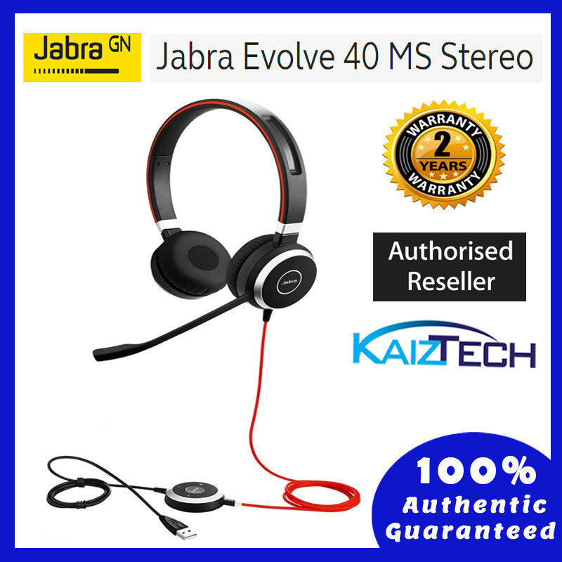Jabra Evolve 40 MS Stereo Wired Headset / Music Headphones