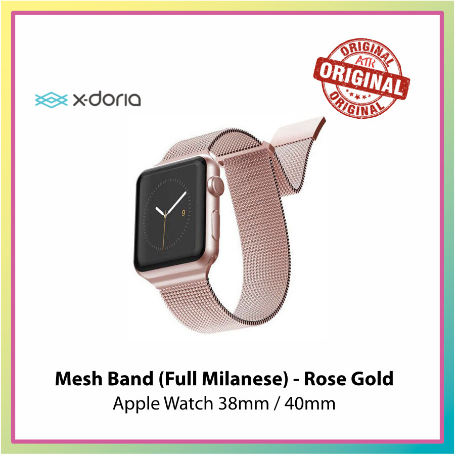 X-Doria Mesh Band for Apple Watch 42/44mm & 38/40mm - Silver/ Rose Gold * Apple Watch Band * Mesh Band * Milanese Band *