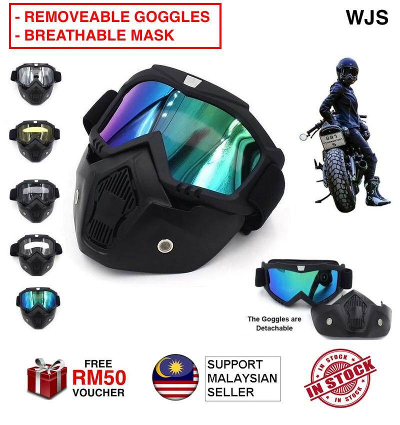 (2 IN A SET - QUALITY MATERIAL) WJS Detachable Uni Mask with Motorcycle Goggles and Mouth Filter Face Masks Protect Padding Helmet Bike Bicycle Sunglasses Kaca Mata Motosikal Mask Motosikal MULTICOLOR [FREE RM 50 VOUCHER]