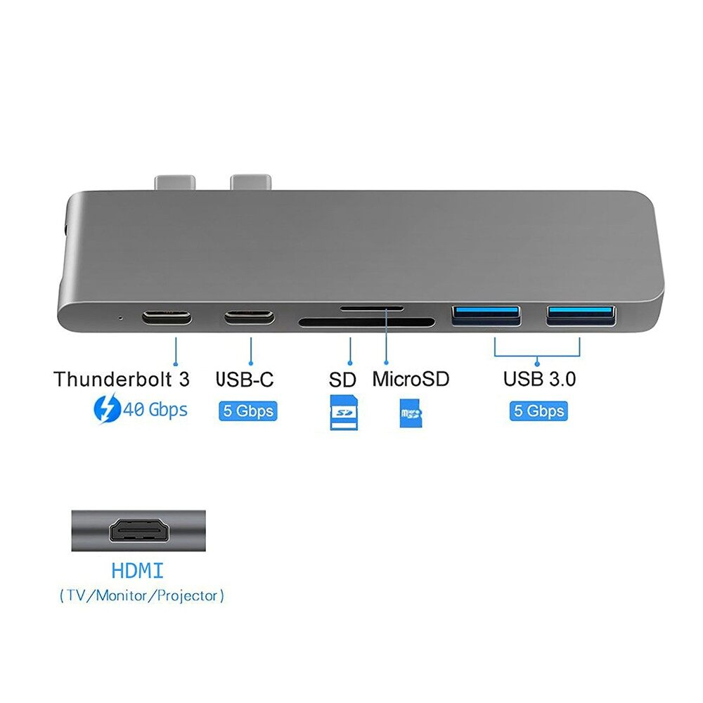 7in1 USB C Hub 3.0 Type-C Adapter Charging&Reader For Macbook Pro Mac PC Laptop - GRAY / SLIVER