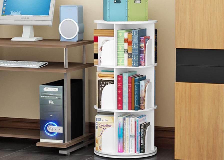 3 Layer Creative Rotating Bookshelf 360 degree book rack bookcase