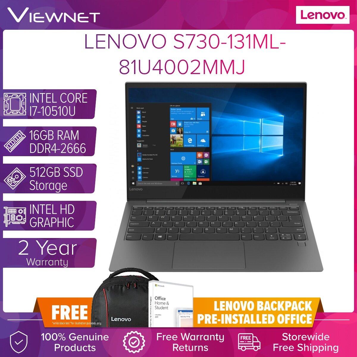 LENOVO S730-131ML-81U4002MMJ INTEL CORE I7-10510U/16GB DDR4/512GB M.2/INTEL HD/W10/13.3'/IRON GREY FREE PRE-INSTALLED OFFICE #2 YEARS ON-SITE WARRANTY(HOTLINE:1800-22-0116)