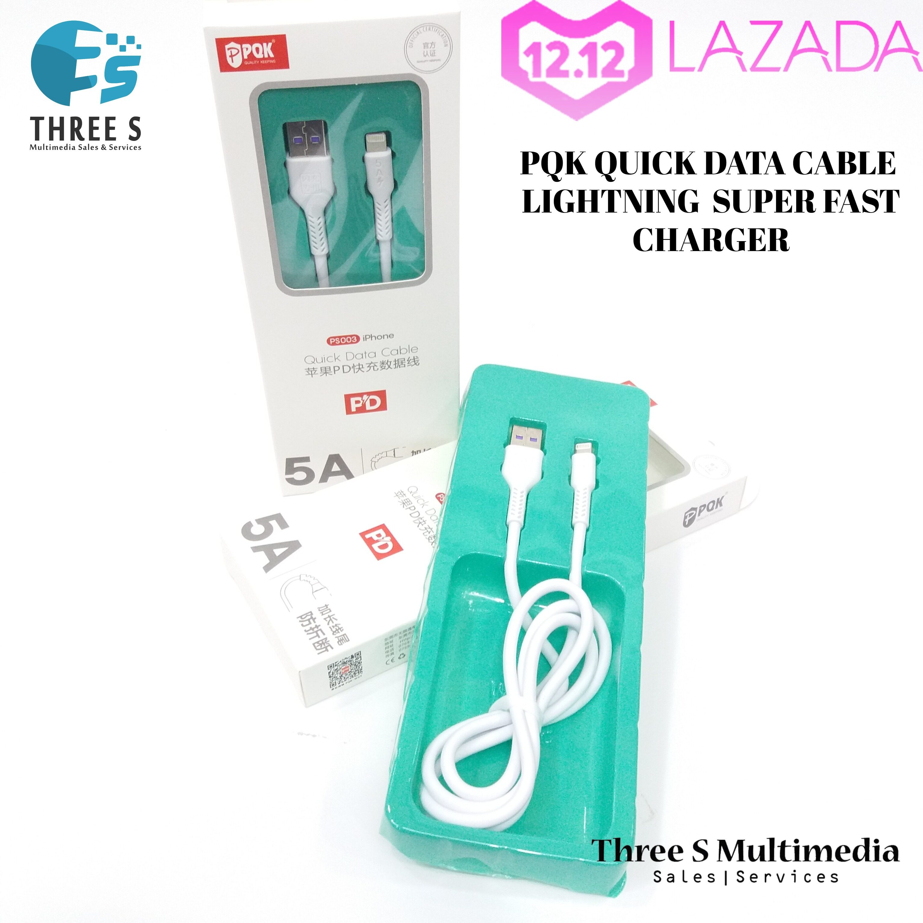 PQK QUICK DATA CABLE SUPER FAST CHARGER & HIGH QUALITY FOR LIGHTNING/ TYPE C/ MICRO USB 5A