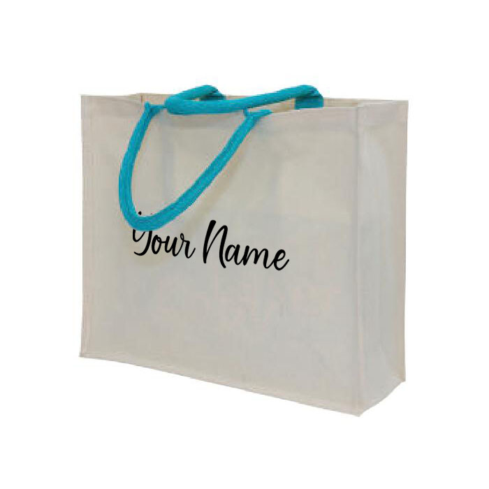 MyUnique Canvas Bag with Name CB06 (Sea Blue)