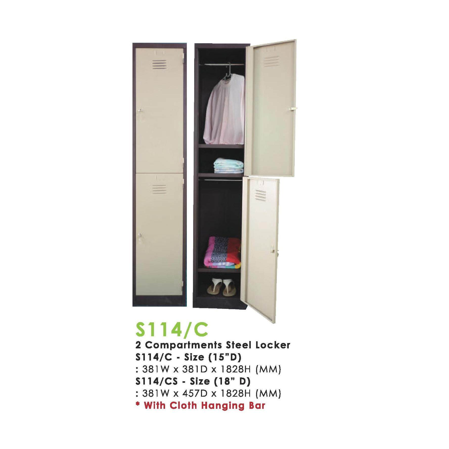 """(FREE Delivery Klang Valley) 2 COMPARTMENT STEEL LOCKER 15"""" x 18"""" x 72"""""""