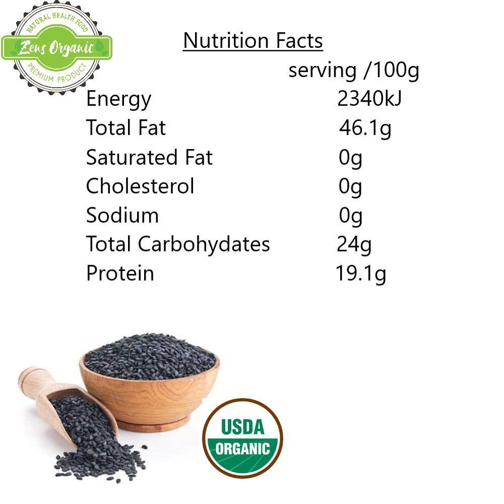 Zens Organic Raw Black Sesame 1kg [ Ceritified by USDA ]