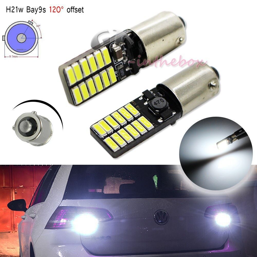 Car Lights - 1/2X Bay9S H21W 64136 Canbus No Error 24Smd White Car Reverse Light Bulb DC - Replacement Parts