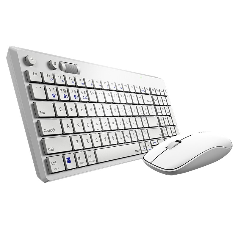 Keyboards - Rapoo 8050T 2.4GHz WIRELESS 108 Keys Keyboard and 1300dpi Mouse Combo SET with USB Receiver for - WHITE / BLACK