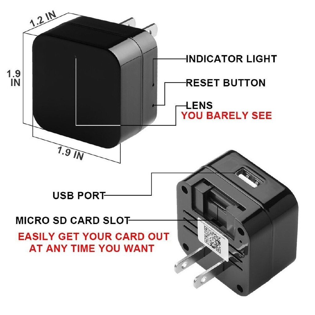 WiFi HD 1080p Spy Camera USB AC Adapter Wall Charger Hidden Motion Detection Cam - BLACK