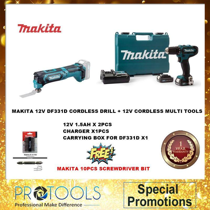 MAKITA CLX206AX2 12V CXT Series Combo Kit df331 + tm30d + 12v1.5ah x 2 + 1 charger + 10pcs makita screwdriver bit