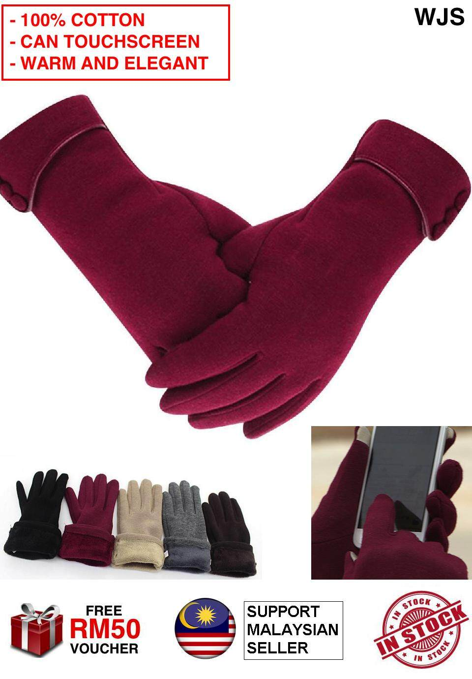 (TOUCHSCREEN SUPPORT) WJS 100% Cotton Elegant Women Winter Glove Lady Winter Warm Gloves Touch Screen Phone Windproof Lined Thick Gloves MULTIPLE COLORS [FREE RM 50 VOUCHER]