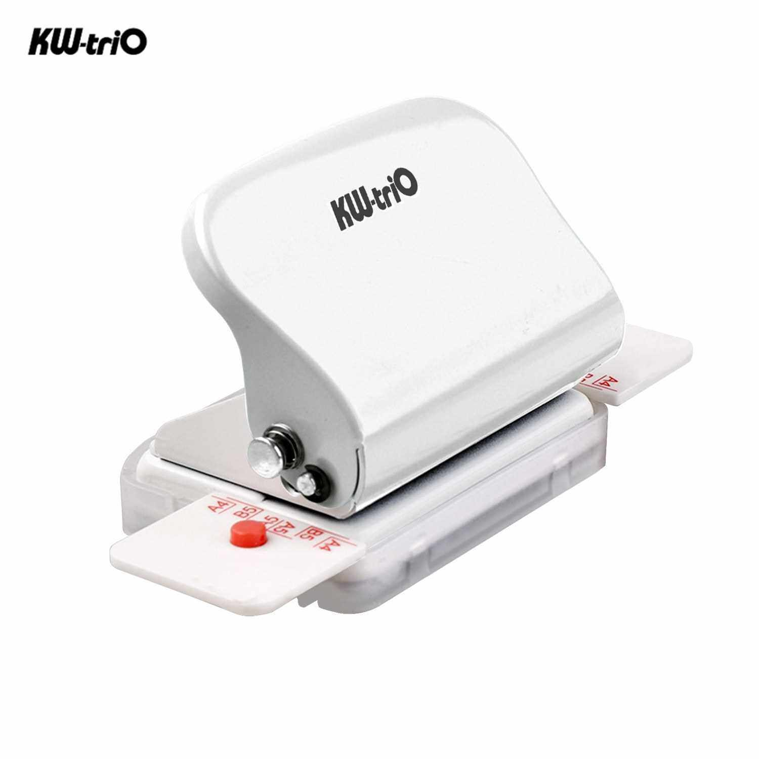KW-trio 6-Hole Paper Punch Handheld Metal Hole Puncher 5 Sheet Capacity 6mm for A4 A5 B5 Notebook Scrapbook Diary Planner (White)