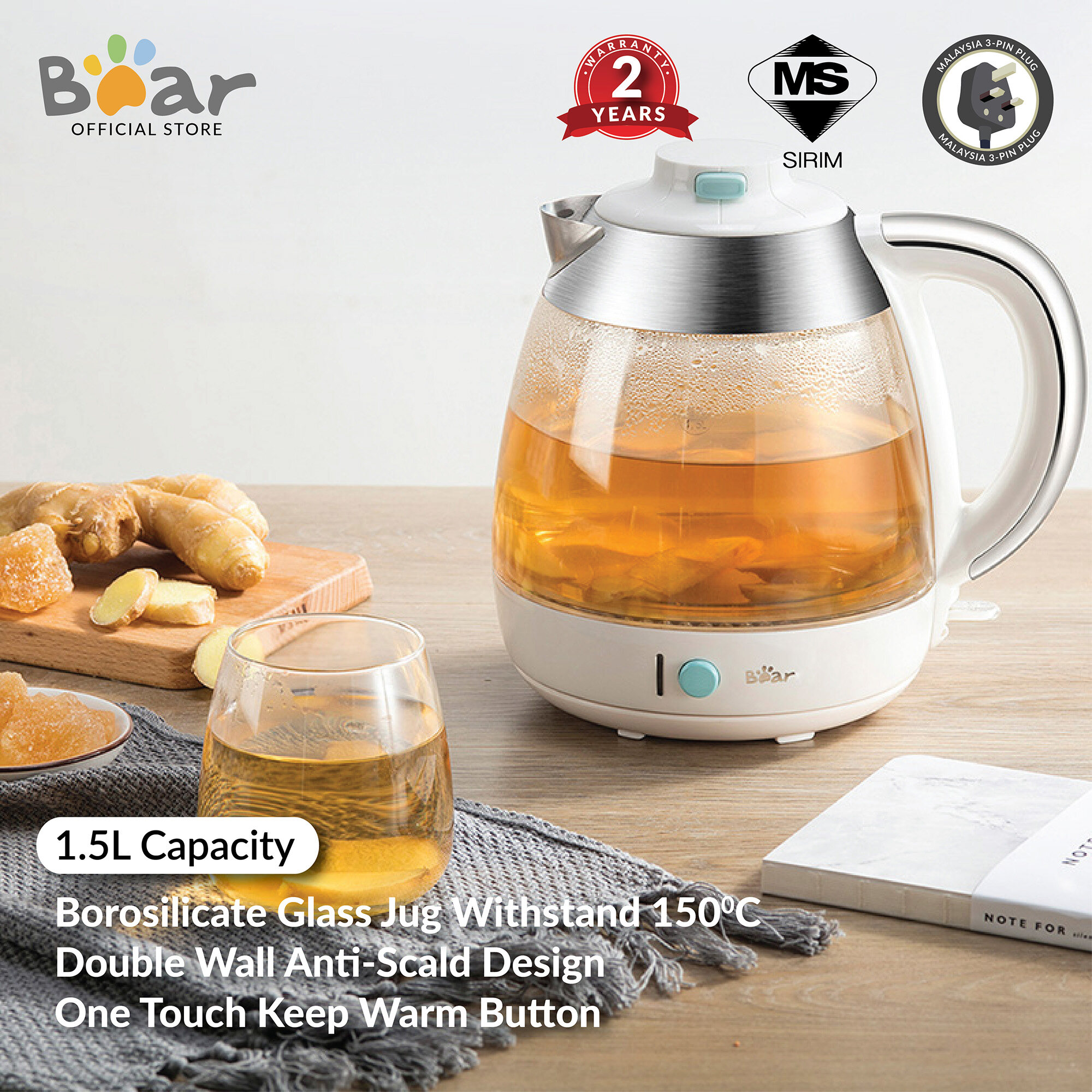 Bear Double Wall Kettle 1.5L health pot  ZDH-B15F6 Electric Kettle thick glass multi-function kettle tea (Malaysia 3-Pin Plug)