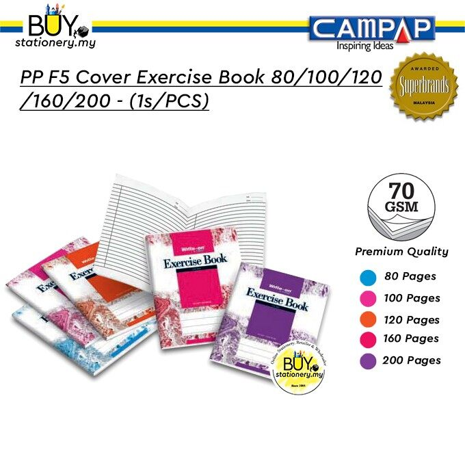 Campap PP F5 Cover Exercise Book 80/100/120/160/200 - (1s/PCS)