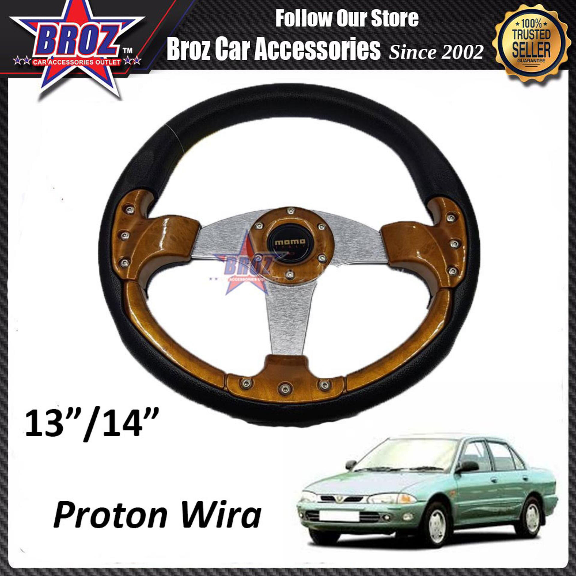 Wira 13  Inch Momo Wooden Car Steering + Wheel Hub Adapter Boss Kit