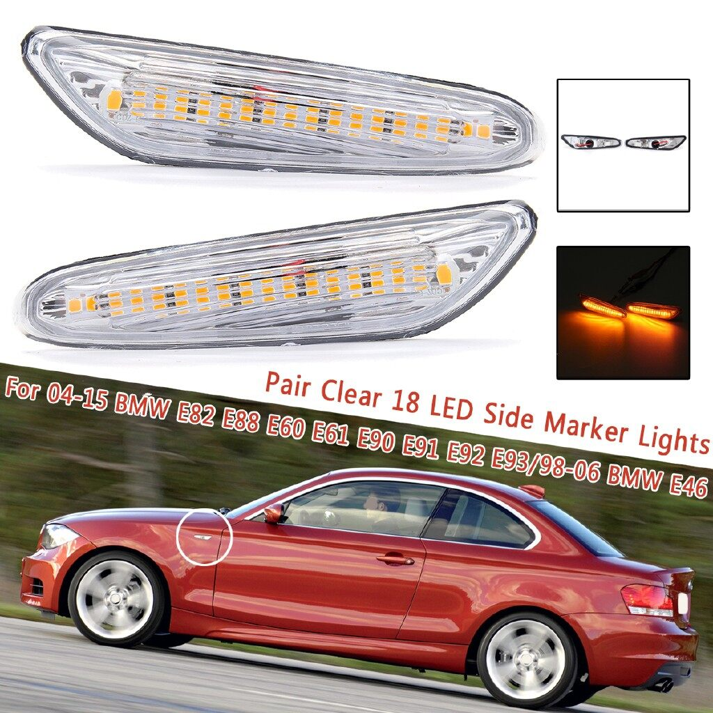 Car Lights - 2 PIECE(s) Smoked Lens 6 LED Side Marker Lights For BMW 3 Series E90 E91 E92 E93 - Replacement Parts