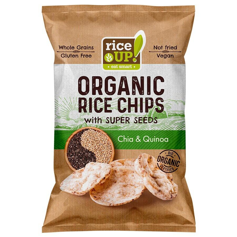 Rice Up Organic Rice Chips With Super Seeds Chia & Quinoa 25G x2 - TWIN PACK