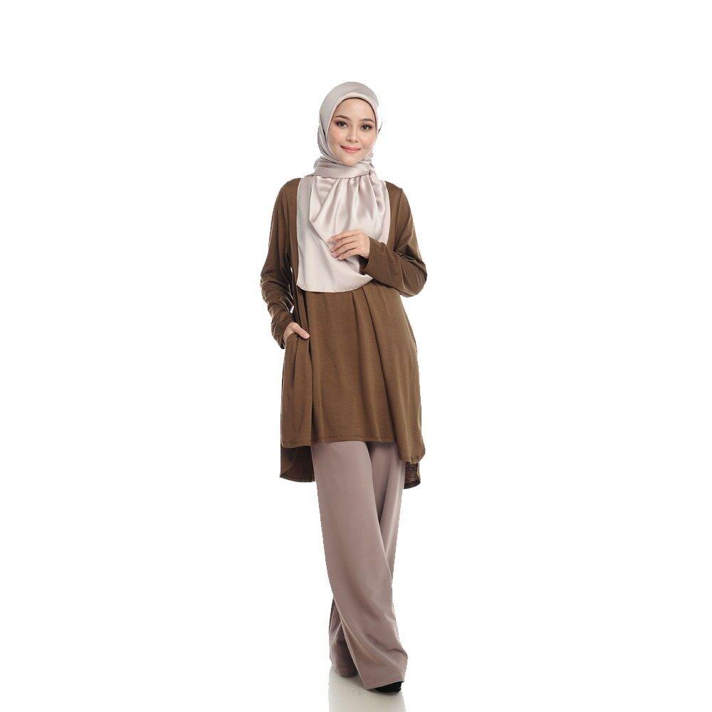 [ Local Ready Stocks ] LEANEN COMFY KURTI V5 - MATTE BROWN Pakaian Wanita Muslimah Labuh Sopan Women Blouse Muslimah ( Saiz XL-XXL )