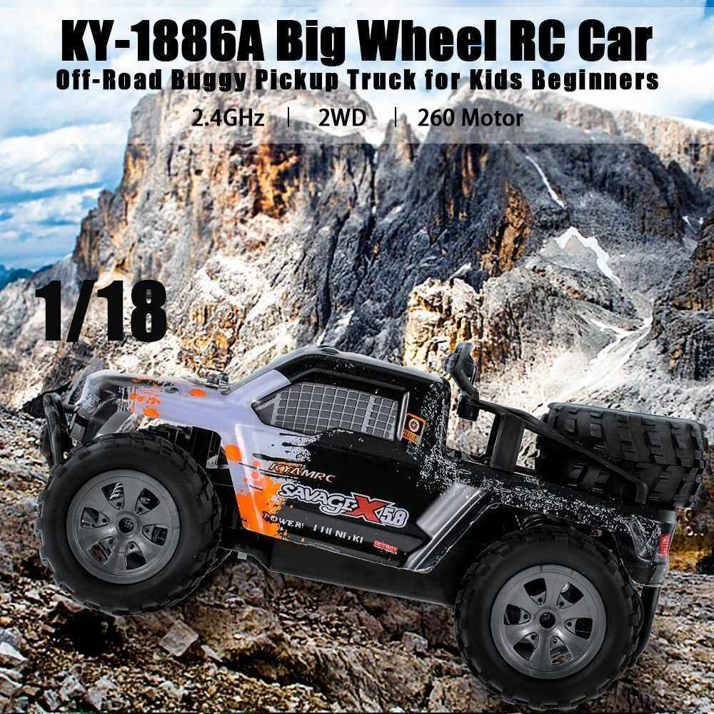KY-1886A 2.4GHz 1/18 2WD Big Wheel RC Car Off-Road Buggy Pickup Truck for Kids Beginners (Orange)