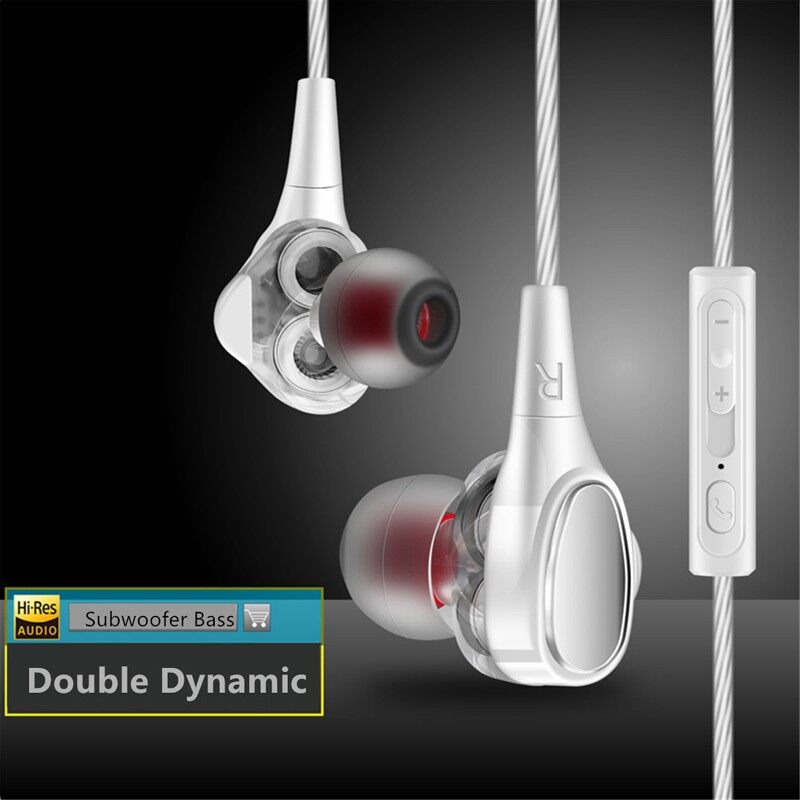 Double Dynamic In-Ear Earphone Bass Subwoofer HIFI Stereo Head SET Microphone - GOLD / SILVER / RED / BLACK