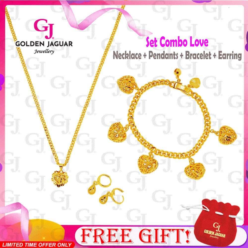 GJ Jewellery Emas Korea 24k Bracelet Combo Set Love Sangkar - Bracelet Necklace Pendants Set
