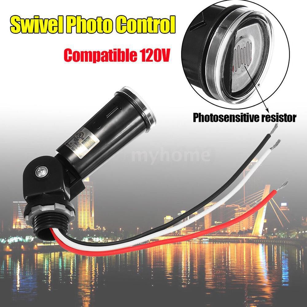 Lighting - LED Compatible 120V Photoelectric Switch Outdoor Lamp Swivel Photo Control Photocell Dusk To - #