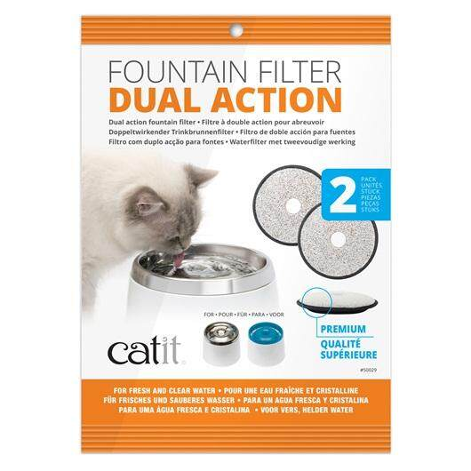 Catit Stainless Steel Top Drinking Fountain Premium Dual-Action Replacement Fountain Filter     2 pack