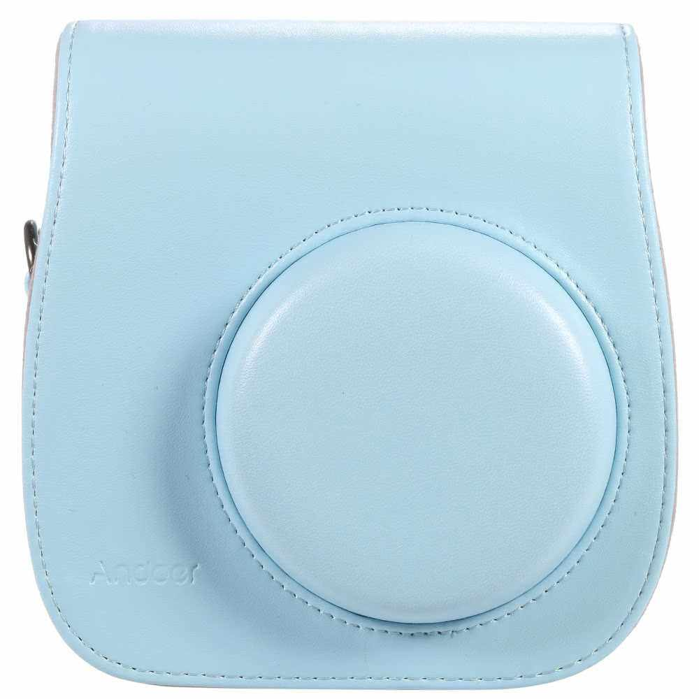 Leather Camera Case Bag Cover for Fuji Fujifilm Instax Mini8 Mini8s Single Shoulder Bag (Blue)