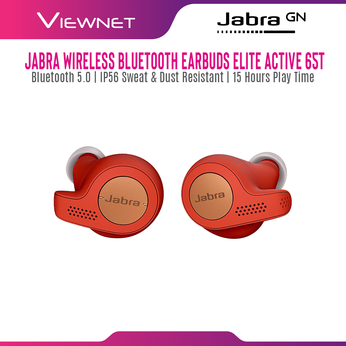 Jabra Elite Active 65t True Wireless Bluetooth Earbuds with Bluetooth 5.0, IP56 Sweat & Dust Resistant, 15 Hours Play Time