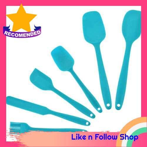 6PCS Baking Utensils Spatula Spoonula Cooking Kitchen Utensil Set Silicone Kitchenware Set Heat-Resistant Cookware Set Chef Nonstick Cookware Kitchen Gadgets (Blue)