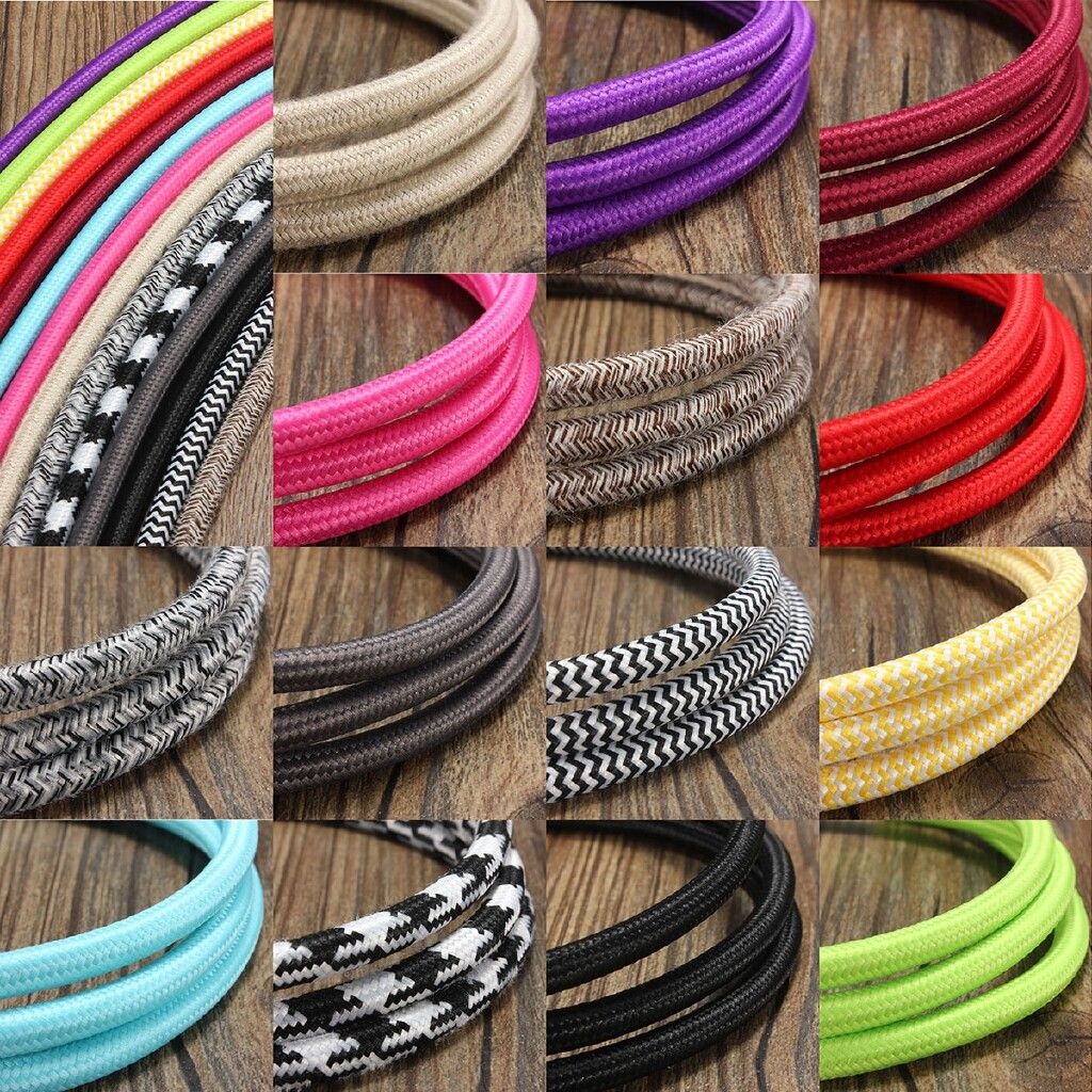 Lighting Fixtures & Components - 5M Twist Braided Fabric Colorful Cable Wire Electric Pendant Light Accessory - PURPLE / LIGHT GREEN / YELLOW&WHITE / COPPER GRAY / BIG RED / ROSE RED / WINE RED / LIGHT JUTE / LIGHT BLUE / BLACK / SUBGRAY / BLACK&WHIT