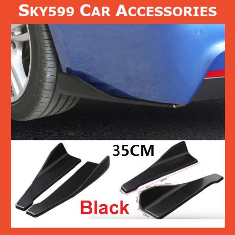 Universal Black Car Bumper Spoiler Rear Lip Side Skirt Rocker Wings 35cm