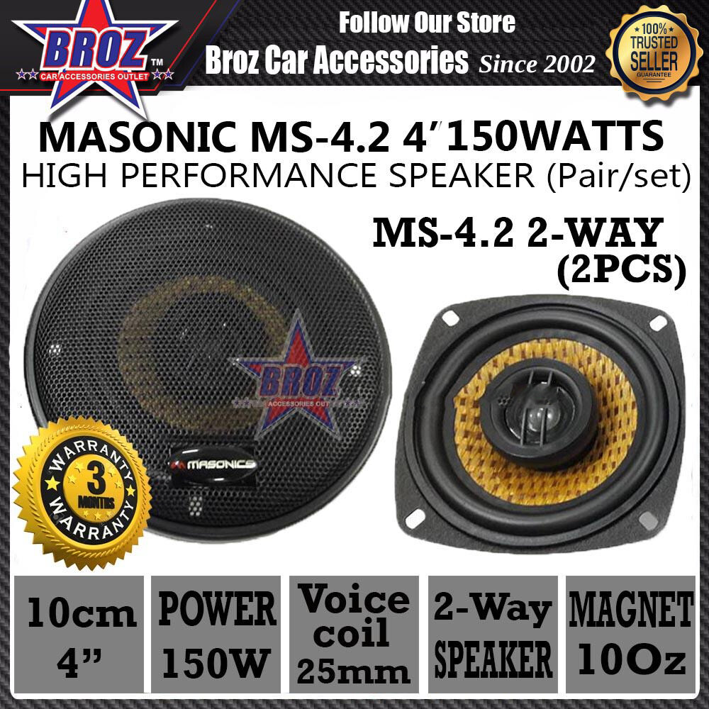 Broz MASONIC MS-4.2 4  150Watts High Power Performance 2-Way Speaker