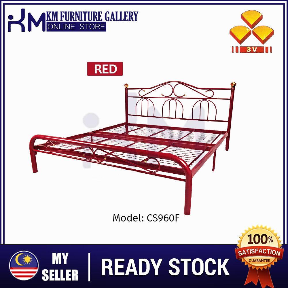 KM Furniture 3V CS960F Powder Coat Metal Bed Frame - King Size/ Katil King/ Katil Besi KMCS960F-R