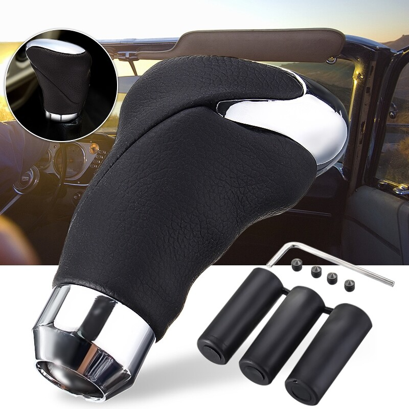 Car Electronics - Black Leather Car Auto Shift Knob Gear Head Shifter Stick Alloy Universal - Automotive