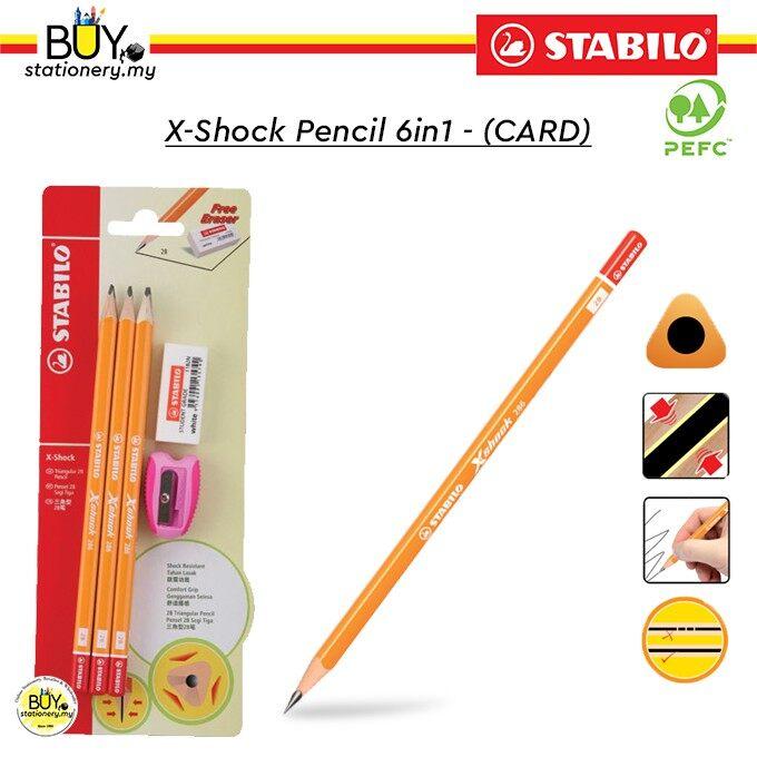Stabilo X-Shock 2B Pencil 6in1 - (CARD)