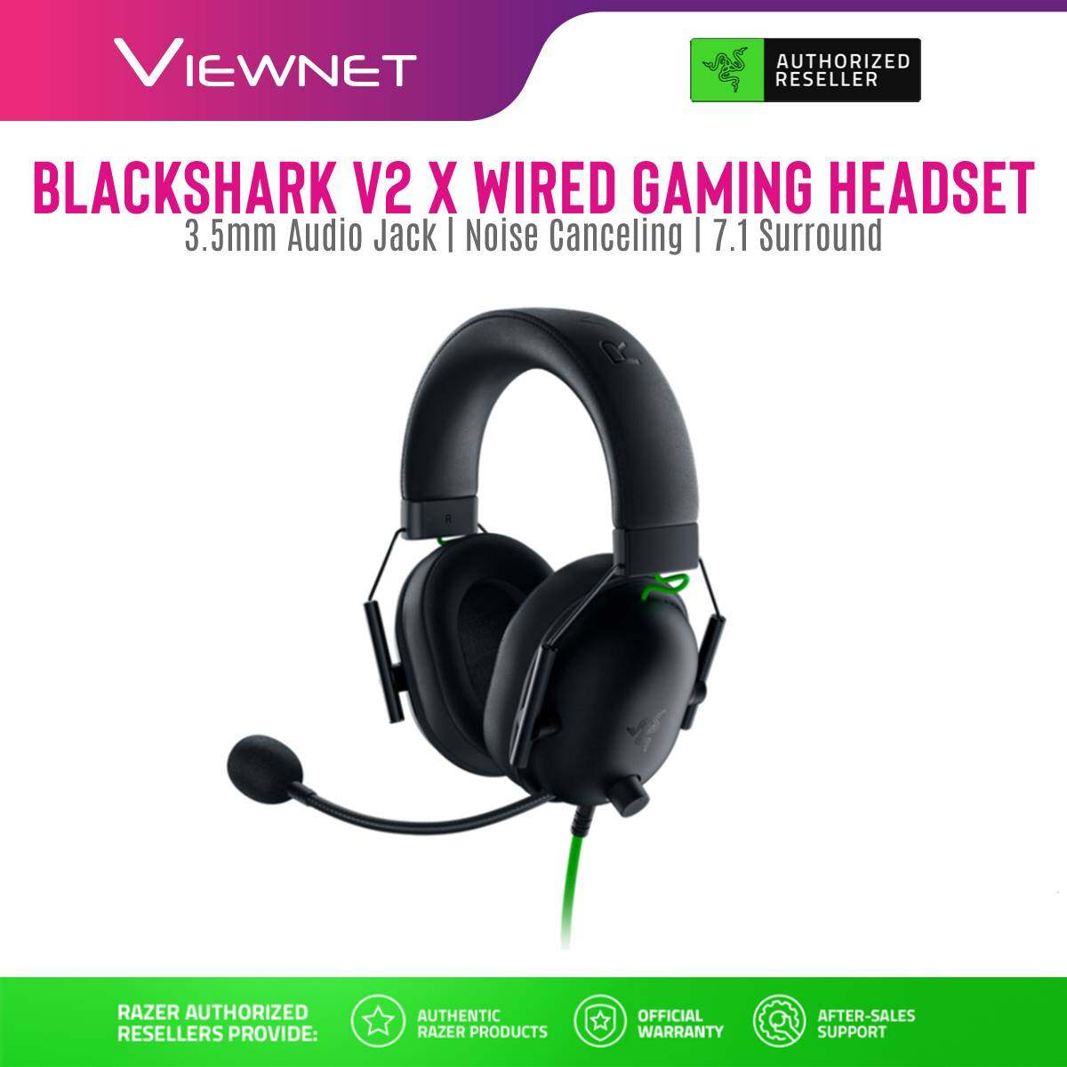 Razer Wired Gaming Headset BlackShark V2 X with 3.5mm Jack7.1 Surround Sound Passive Noise Cancellation Hyperclear Cardioid Mic Lightweight Comfort Design