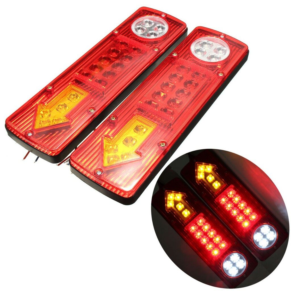 Car Lights - 2x 12V LED Trailer Truck Rear Tail Brake Stop Turn Light Indicator Reverse Lamp - Replacement Parts