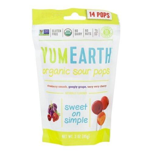 Yum Earth Lollipops Organic Sour Pops 14Pops 3Oz