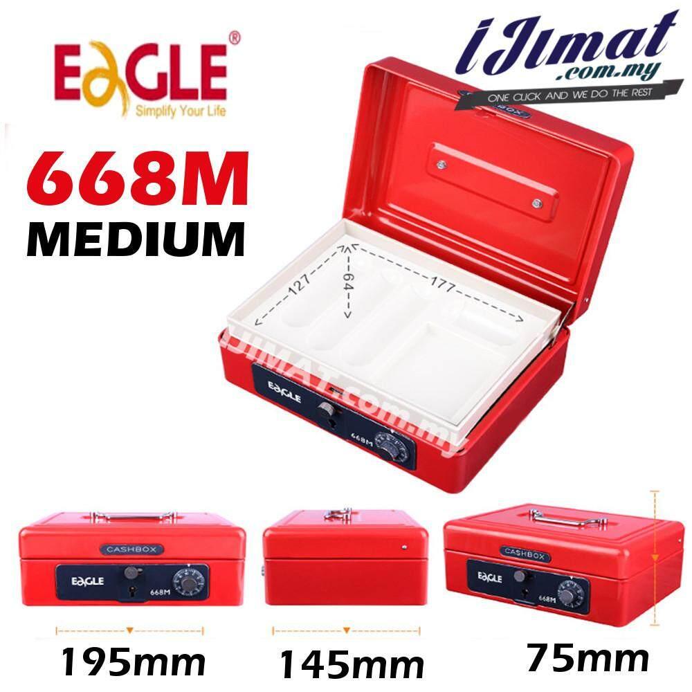 EAGLE 668M CASH BOX / PETTY CASH BOX MEDIUM (KEY & NUMBER LOCK) BLUE / RED
