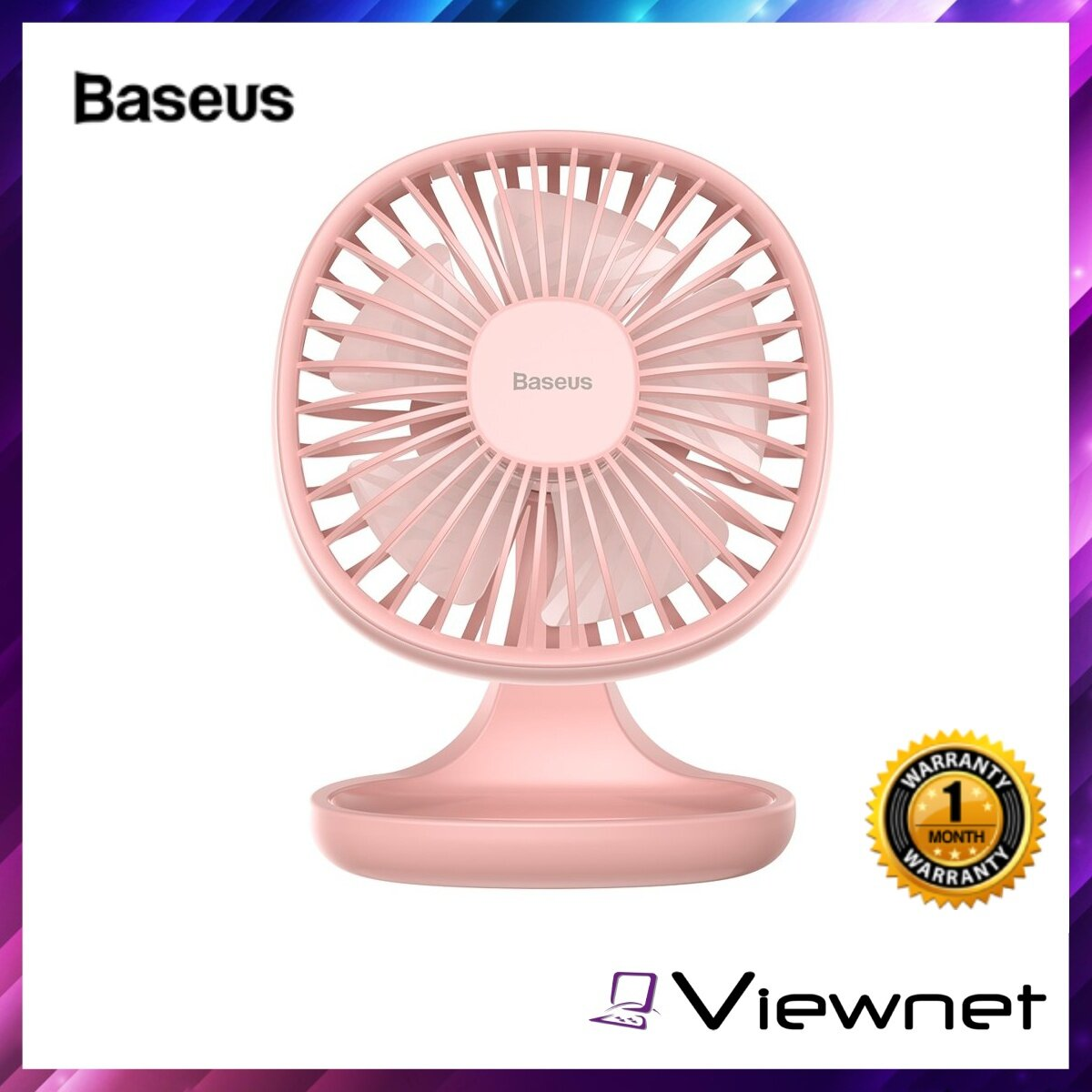 Baseus Pudding-Shaped Fan, 3 Speeds adjustable, Low Noise, 5V 1A, Micro USB Port, White / Pink / Blue