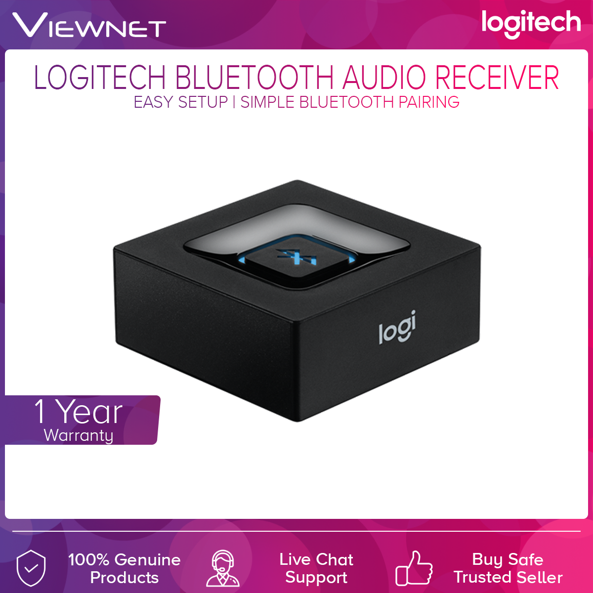 Logitech Bluetooth Audio Receiver with Simple Bluetooth pairing, Easy Setup, Pair Up To 2 Device