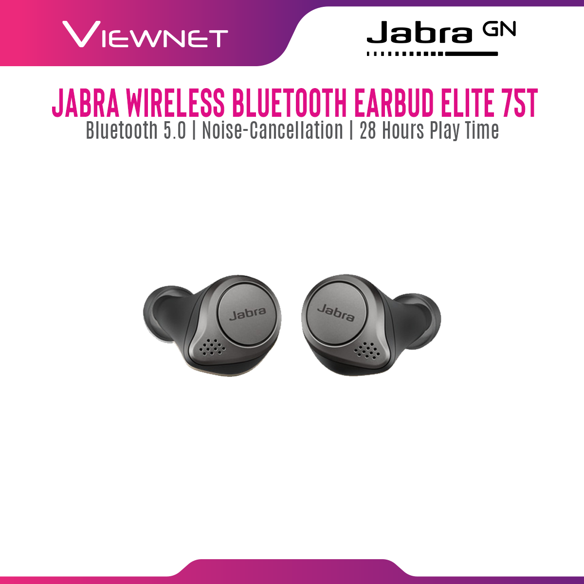 Jabra Wireless Bluetooth Earbud Elite 75t with Charging Case, Bluetooth 5.0, 4 Microphone Call Technology,Noise-Cancellation, IP55 Dust Resistant, Up To 28 Hours Play Time,Support Google/Alex/Siri