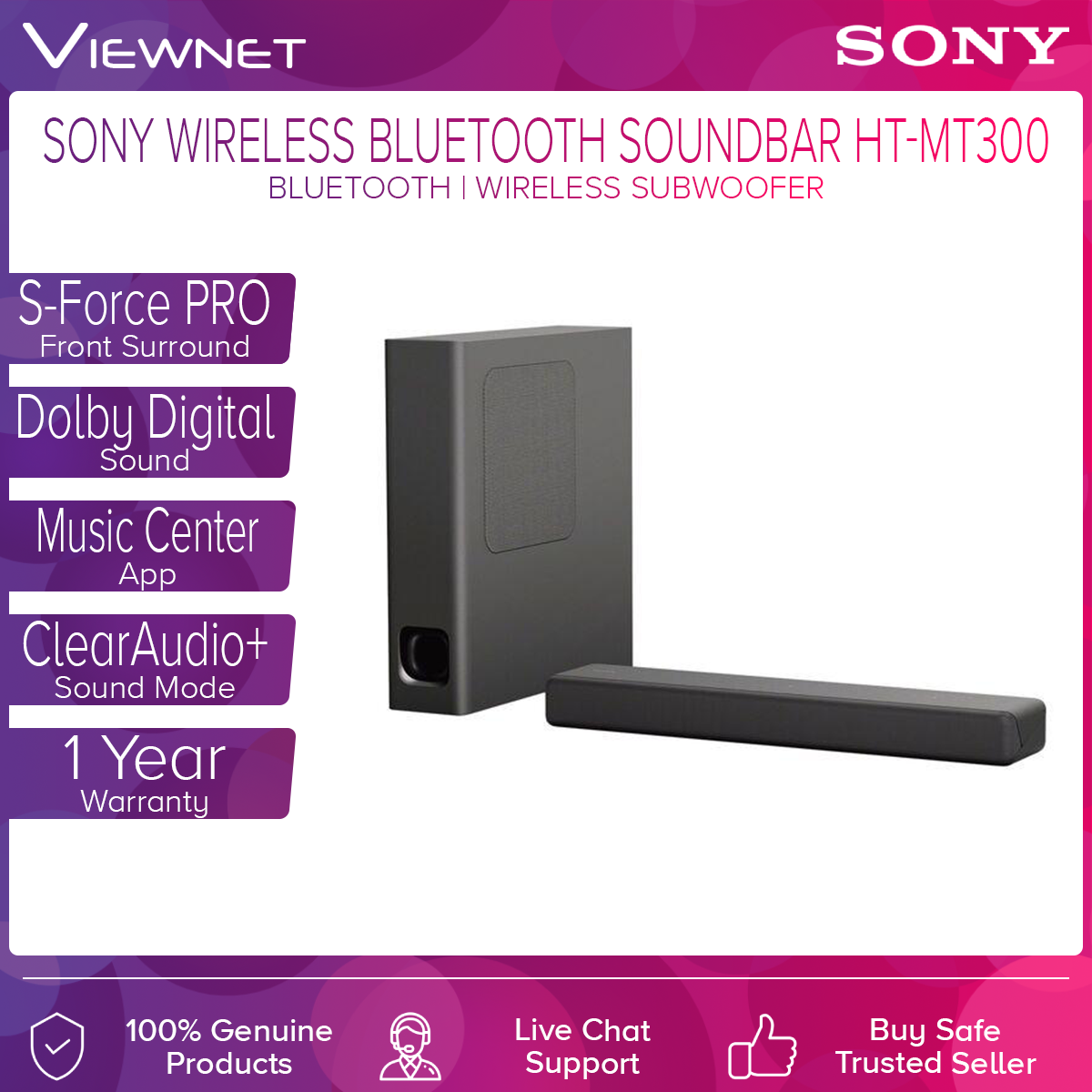 Sony HT-MT300 2.1CH Compact Single Sound Bar with Subwoofer (SO-CE-HT-MT300/B), Black, Bluetooth Technology Black, Immersive sound.