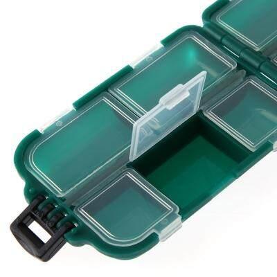Fishing Lure Storage Box Tackle Mini Portable Waterproof 10 Compartments Tool (MEDIUM SEA GREEN)