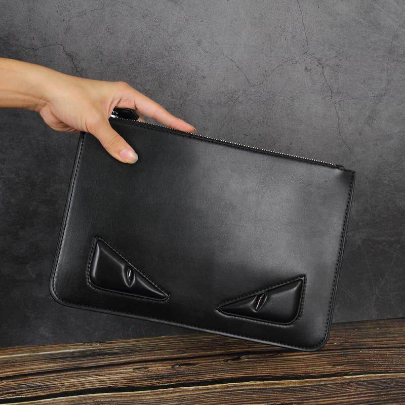 [M\'sia Warehouse Direct] 2020 Korean Series Men\'s Leather Handcarry Bag With String Fengshui Clutch Bag Can Fit Iphone Any Android Mobile Long Purse Perfect Gift For Love One Multifunctional Portable Bag Card Holder Dompet Panjang Kulit Halal