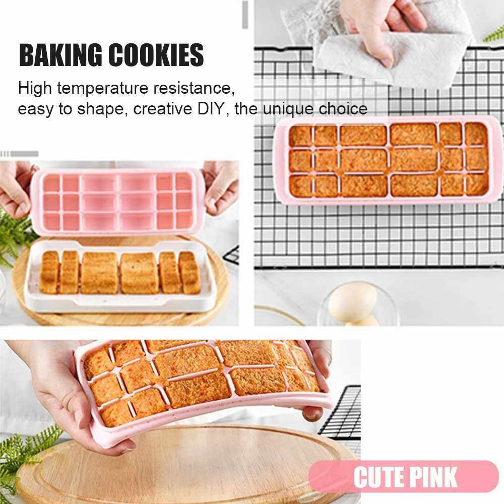 Silicone Ice Cube Tray with Lid Square Ice Cubes Baking Mold BPA free Easy to Release for Juice Baby Food Chocolate Cheese Sushi 18 Holes (Pink)