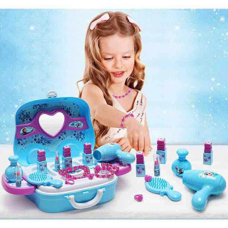 Last1 !!! Free 7 in 1 LOL When Purchase Disney Frozen Princess Makeup Box Suitcase Elsa Anna Pretend Play Kids Toys Set