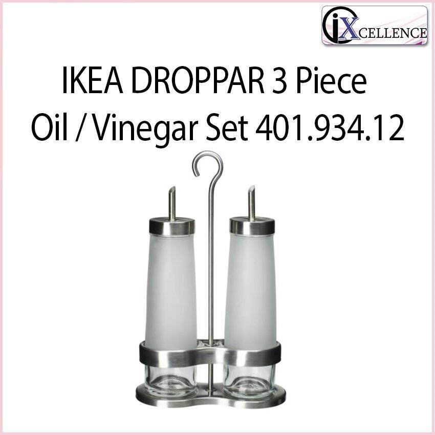 [IX] DROPPAR 3 Piece Oil / Vinegar Set 401.934.12 (Frosted Glass,Stainless Steel)