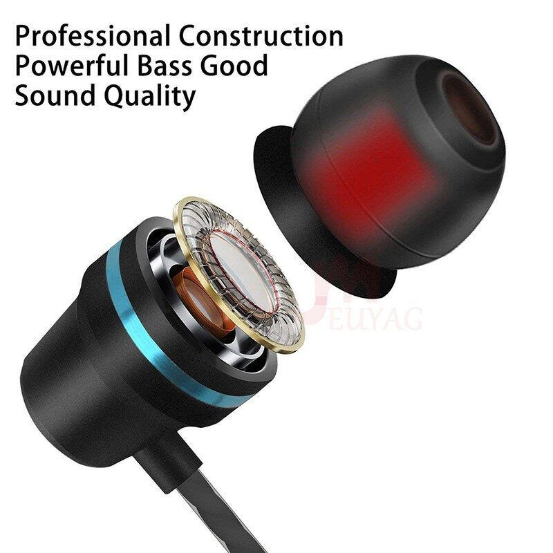 Solid Color 3.5mm Heavy Bass Metal In-ear Headphones Earphone - SILVER / RED / GOLD /PINK / BLACK